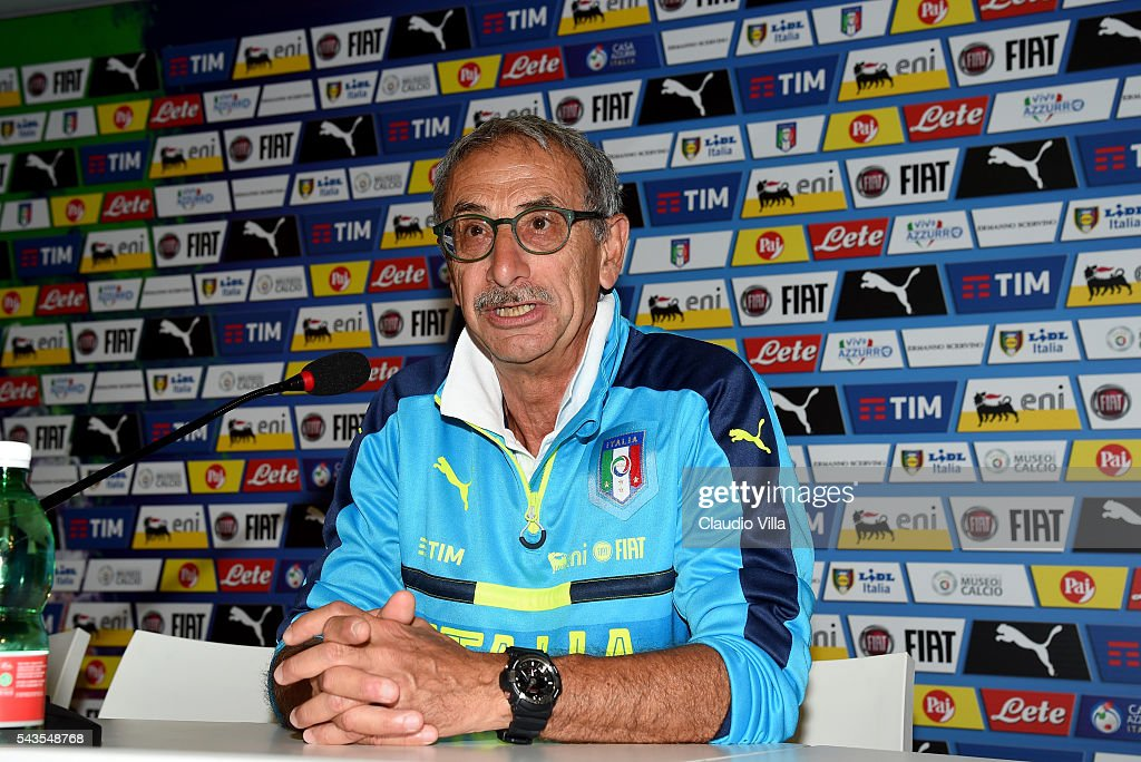 Doctor of Italy Enrico Castellacci speaks with the media during a press conference at Casa Azzurri on June 29, 2016 in Montpellier, France.
