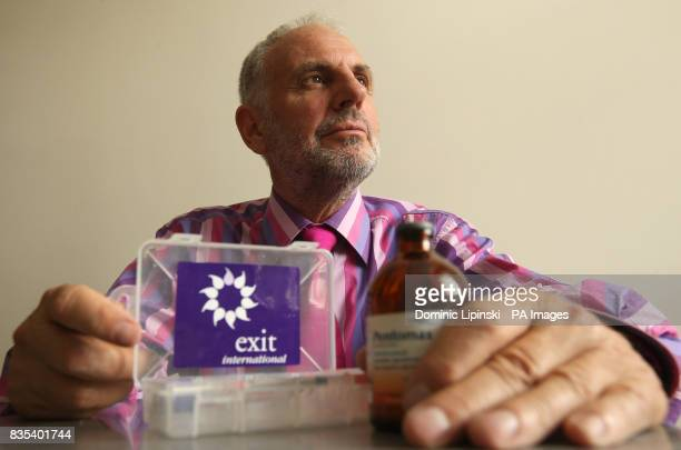 Doctor Philip Nitschke photographed with a medical kit which can be used for euthanasia in Bayswater west London
