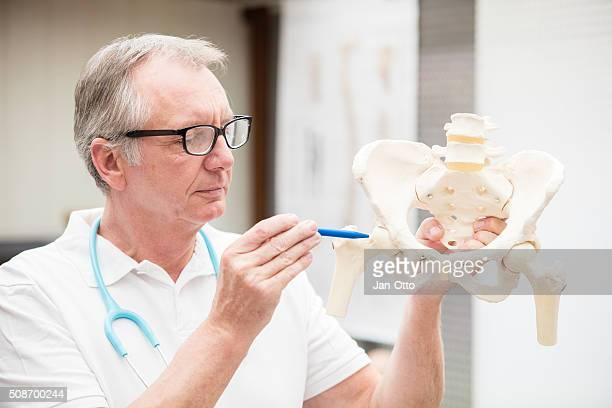 Arzt zeigt an der Hüfte