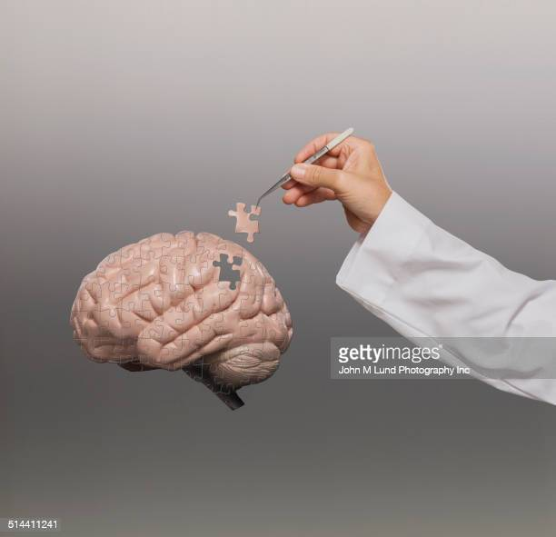Doctor putting brain puzzle together