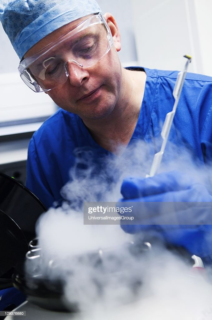 Doctor removing embryo samples from cryogenic storage, Fertilized embryos are stored in liquid nitrogen filled tanks to keep them as new if patients require them at a later date.