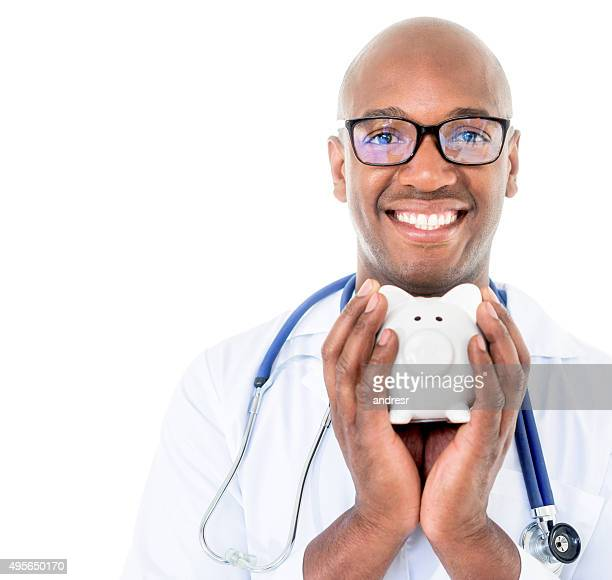 Doctor saving for the health insurance