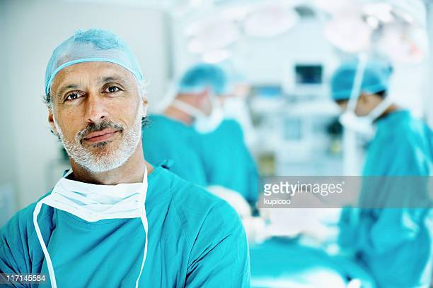 Doctor smiling in operating theater