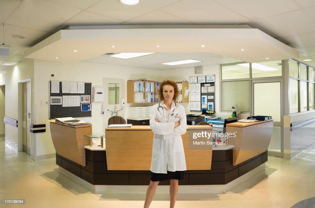 Doctor standing in hospital hallway