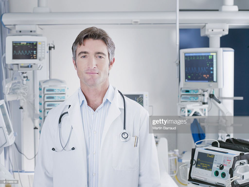 Doctor standing in hospital intensive care
