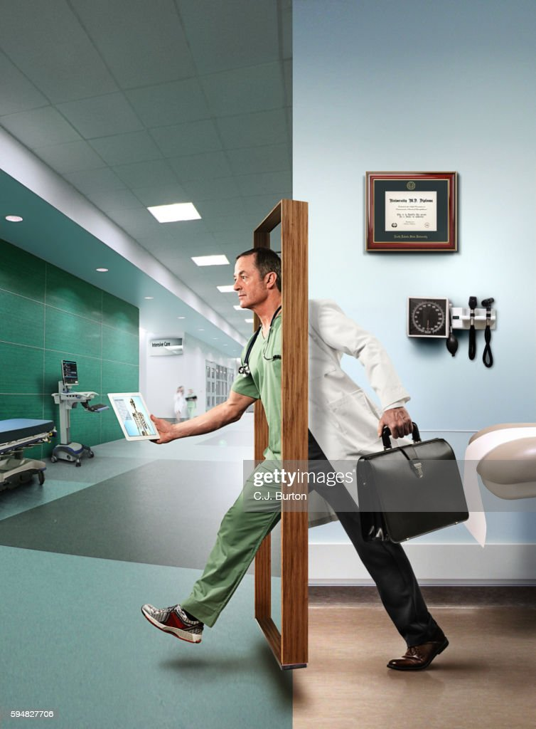 Doctor stepping through door digital composite : Stock Photo : door stepping - Pezcame.Com