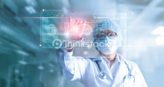 Doctor, surgeon analyzing patient brain testing result and human anatomy on technological digital futuristic virtual computer interface, digital holographic, innovative in science and medicine concept : Stock Photo
