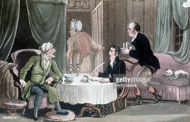 Doctor Syntax making his will c1816 Servants leave the room so that he can speak with his lawyer in privacy Illustration for Tours of Dr Syntax by...