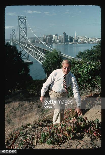 Doctor Tapani Luukkainen of Finland climbs to an observation point overlooking the San FranciscoOakland Bay Bridge He is working on a cure for the...