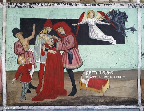 Doctor treating plague victims Saint Sebastian's life frescoes Chapel of St Sebastian VillarddeLans RhoneAlpes France Detail
