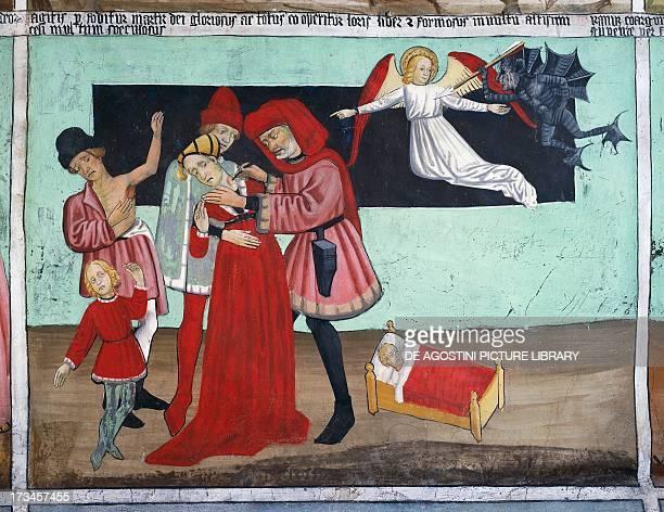 Doctor treating plague victims Saint Sebastian's life frescoes Chapel of St Sebastian VillarddeLans RhoneAlpes France Detail