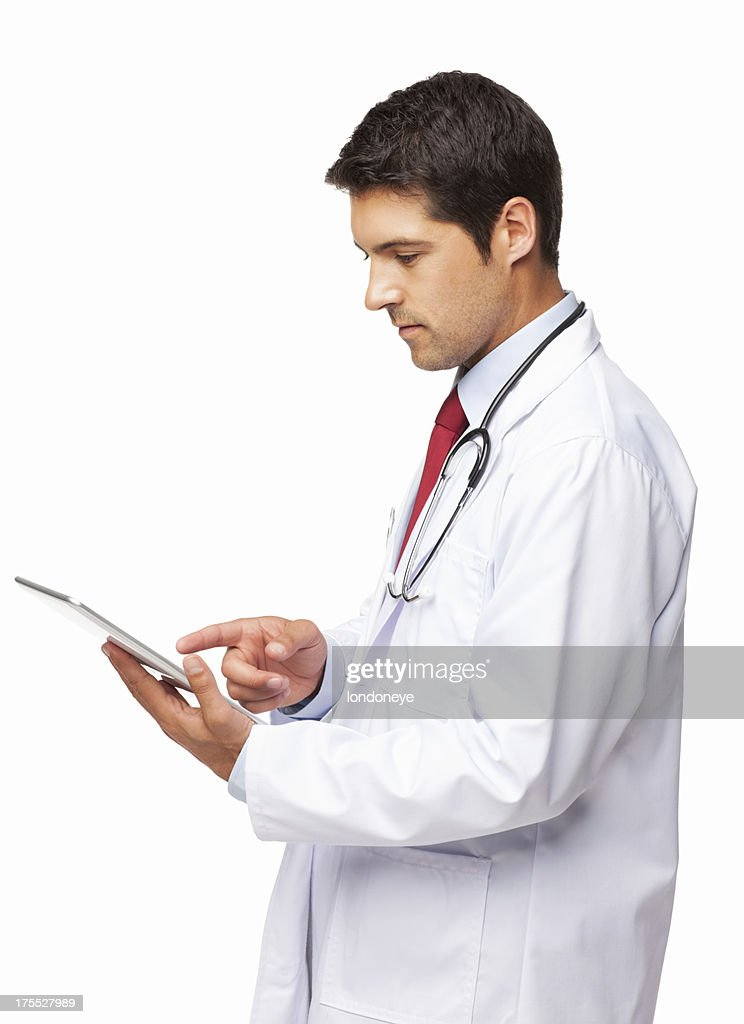 Doctor Using a Digital Tablet - Isolated : Stock Photo