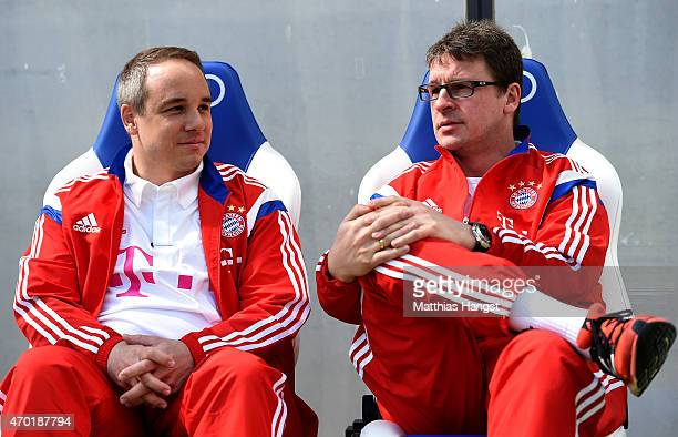 Doctor Volker Braun new club doctor of Muenchen looks on before the Bundesliga match between 1899 Hoffenheim and FC Bayern Muenchen at Wirsol...