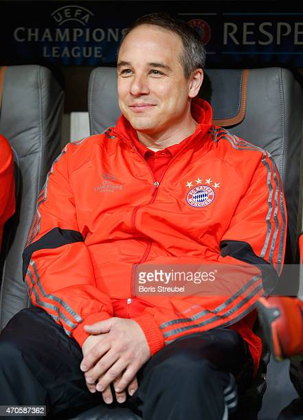 Doctor Volker Braun new club doctor of Muenchen looks on prior to the UEFA Champions League Quarter Final Second Leg match between FC Bayern Muenchen...
