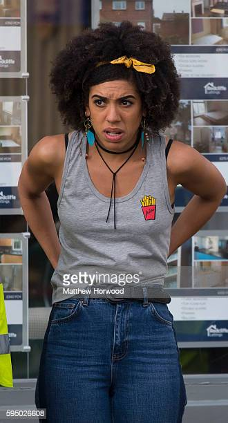 Doctor Who companion Pearl Mackie spotted during filming for the 10th series of Doctor Who on Pontcanna Road on August 24 2016 in Cardiff Wales