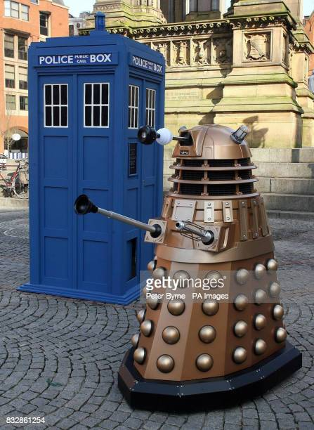 Doctor Who's Tardis and a darlek are seen outside at Albert Square Manchester to promote the Doctor Who UpClose exhibition which is at The Museum of...