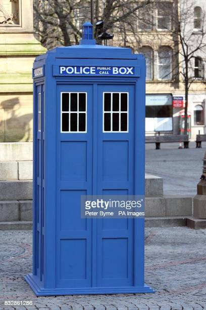 Doctor Who's Tardis is seen outside at Albert Square Manchester to promote the Doctor Who UpClose exhibition which is at The Museum of Science and...