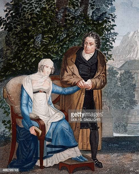 Doctor with pregnant woman ca 1805 engraving by Forget France 19th century