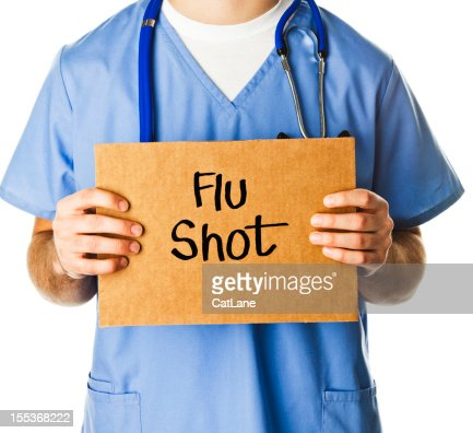 Doctor with Sign: Flu Shot