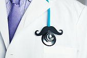 Doctor with stethoscope and mustache for prostate cancer awareness