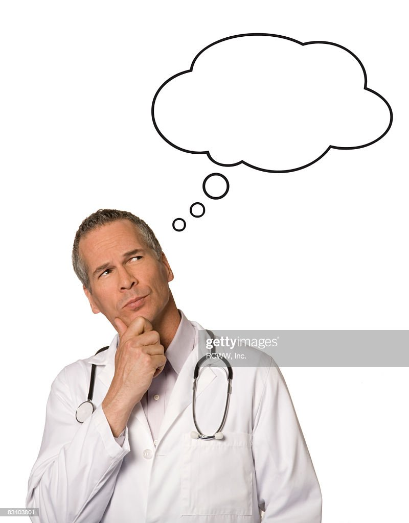 Doctor with Thought Bubble : Stock Photo