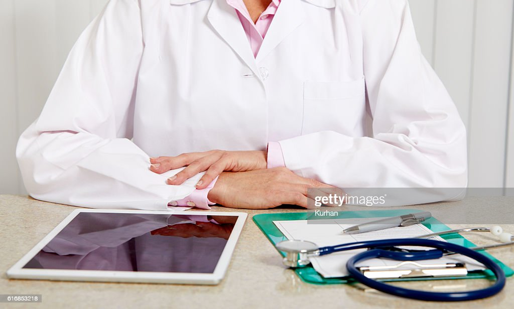 Doctor woman hands. : Stock Photo
