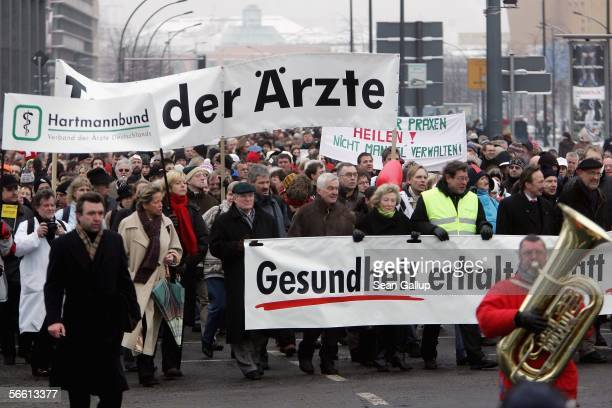 Doctors and medical practitioners demonstrate near Potsdamer Platz January 18 2006 in Berlin Germany An estimated half of Germany's physicians'...