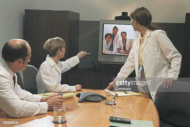 Doctors at video conference