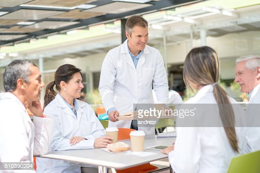 Doctors eating at the hospital's cafeteria