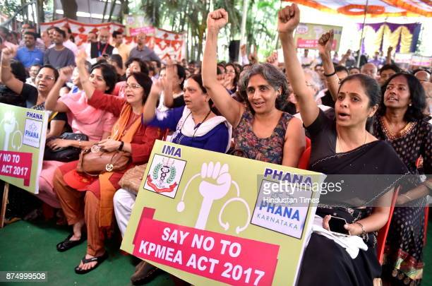 Doctors holding placard while staging demonstration outside Indian Medical Association during strike by private doctors and private medical...