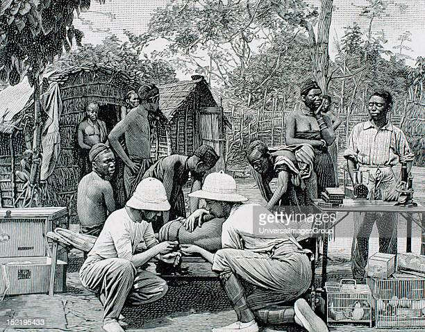 AFRICA Doctors in an expedition of European explorers examining the native blood attacked by sleeping sickness Engraving by Thiriat 1903
