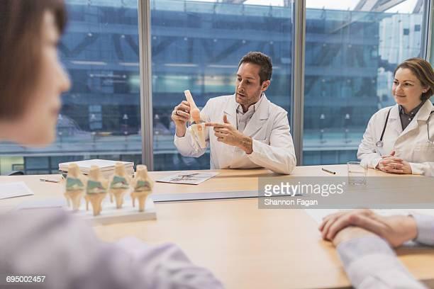 Doctors viewing anatomical model in meeting room