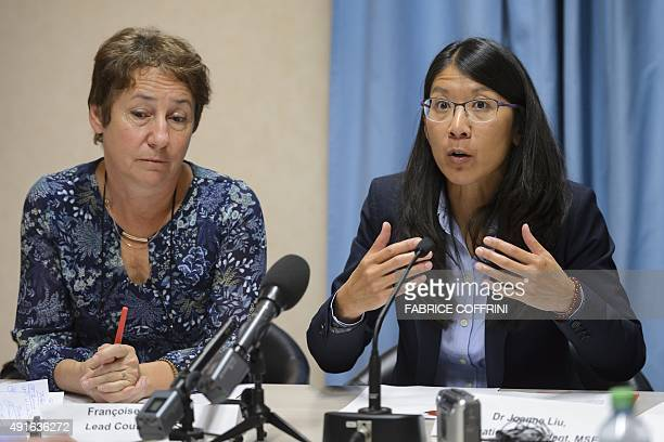 Doctors Without Borders also known by its French name Medecins Sans Frontieres International President Joanne Liu gestures as she speaks flanked by...