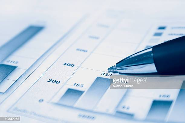 Document financial report with charts and pen