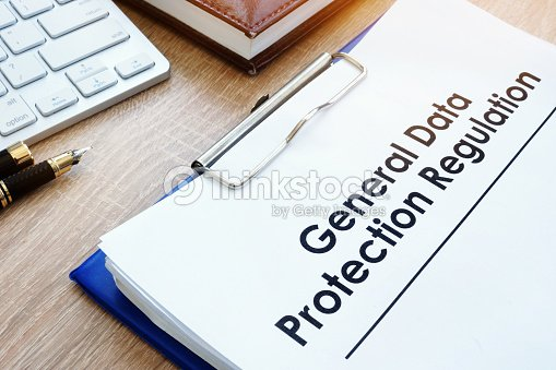 Document General Data Protection Regulation (GDPR) on a desk. : Stock Photo