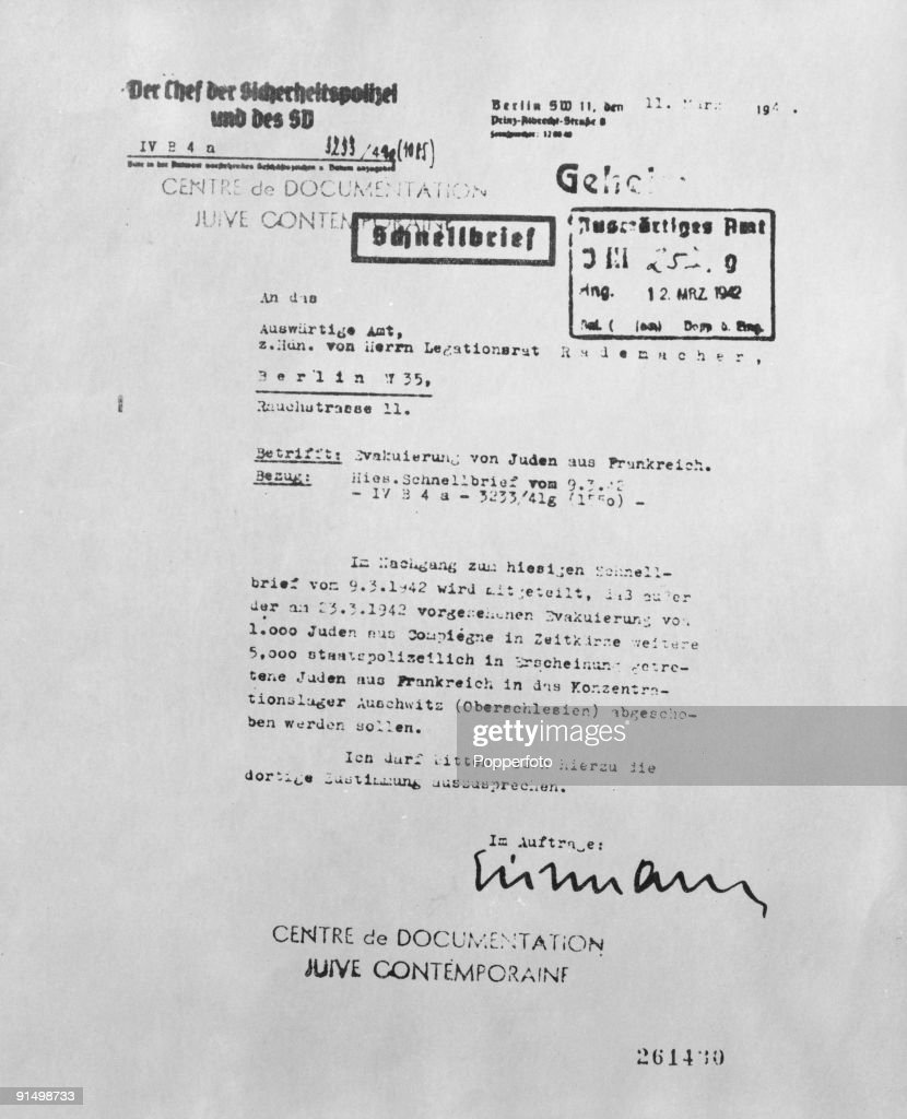 A document signed by SS officer Adolf Eichmann on the 12th March 1942, concerning the deportation of 6,000 Jews from France to Auschwitz-Birkenau.