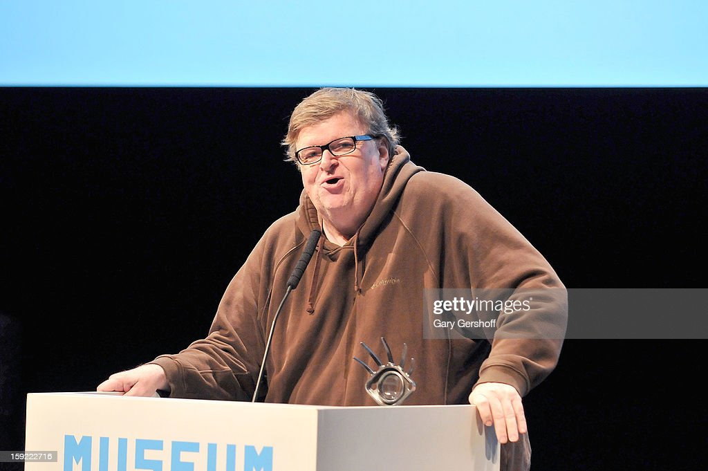 Documentary filmmaker Michael Moore speaks on stage at the 6th annual Cinema Eye Honors For Nonfiction Filmmaking at Museum of the Moving Image on January 9, 2013 in the Queens borough of New York City.