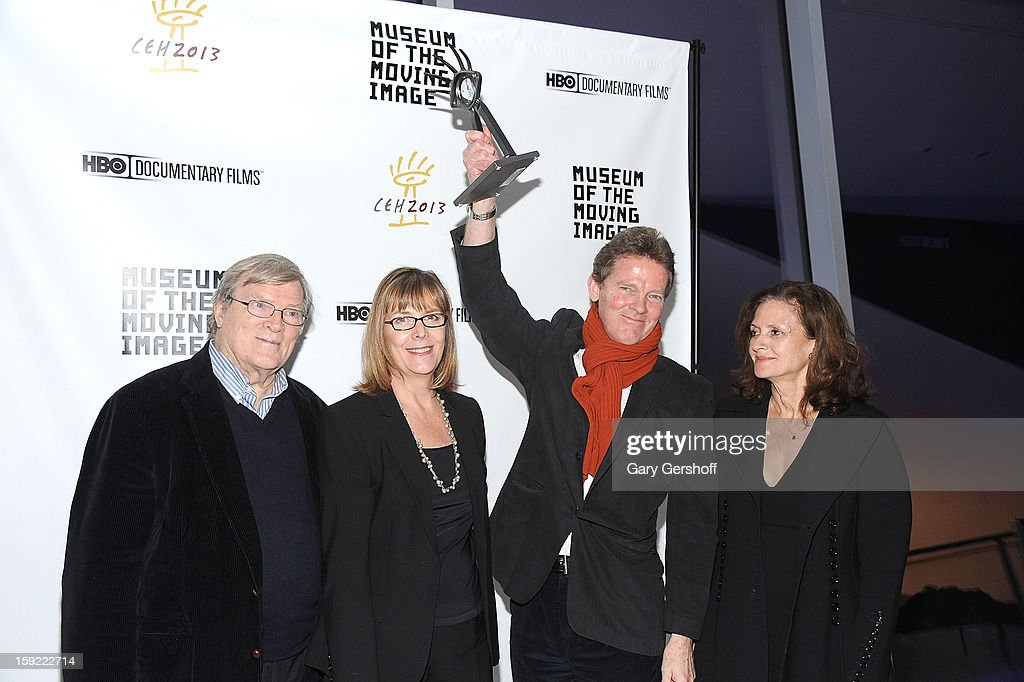 Documentary filmmakers <a gi-track='captionPersonalityLinkClicked' href=/galleries/search?phrase=D.A.+Pennebaker&family=editorial&specificpeople=660590 ng-click='$event.stopPropagation()'>D.A. Pennebaker</a> and <a gi-track='captionPersonalityLinkClicked' href=/galleries/search?phrase=Chris+Hegedus&family=editorial&specificpeople=660595 ng-click='$event.stopPropagation()'>Chris Hegedus</a>, and producers Frazer Pennebaker and Wendy Ettinger attend the 6th annual Cinema Eye Honors For Nonfiction Filmmaking at Museum of the Moving Image on January 9, 2013 in the Queens borough of New York City.