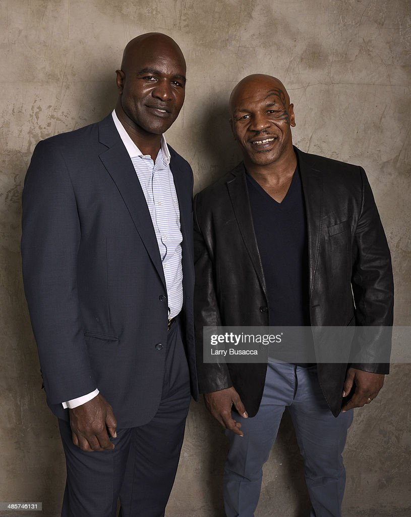 Documentary subjects <a gi-track='captionPersonalityLinkClicked' href=/galleries/search?phrase=Evander+Holyfield&family=editorial&specificpeople=194938 ng-click='$event.stopPropagation()'>Evander Holyfield</a> and <a gi-track='captionPersonalityLinkClicked' href=/galleries/search?phrase=Mike+Tyson&family=editorial&specificpeople=194986 ng-click='$event.stopPropagation()'>Mike Tyson</a> from 'Champs', during the 2014 Tribeca Film Festival at the Monarch Room on April 19, 2014 in New York City.