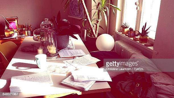 Documents On Table With Potted Plant