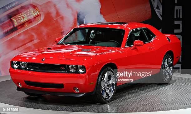 Dodge Challenger R/T sits on stage during a media preview of the 2008 New York International Auto Show in New York US on Wednesday March 19 2008 The...