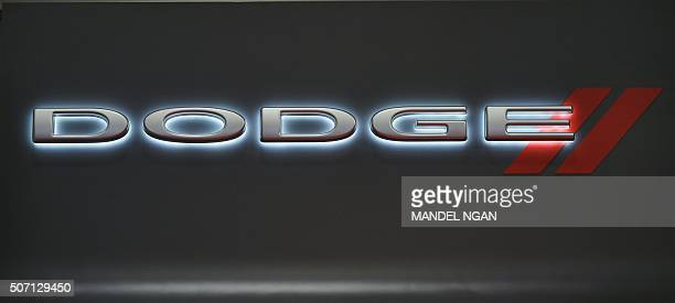 A Dodge logo is seen at the 2016 Washington Auto Show on January 27 2015 in Washington DC / AFP / Mandel Ngan