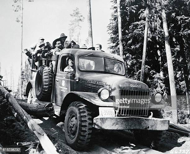 Dodge Power Wagons haul firefighters over trails through Idaho's Payette National Forest to a fire in Long Gulch