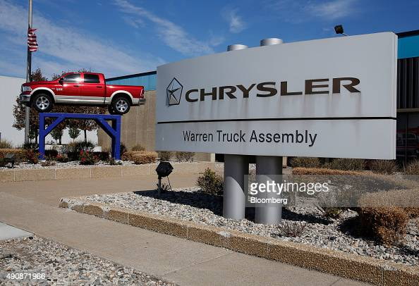 A Dodge Ram 1500 pickup truck is displayed outside of the Fiat Chrysler Automobiles NV Warren truck assembly plant in Warren Michigan US on Thursday...