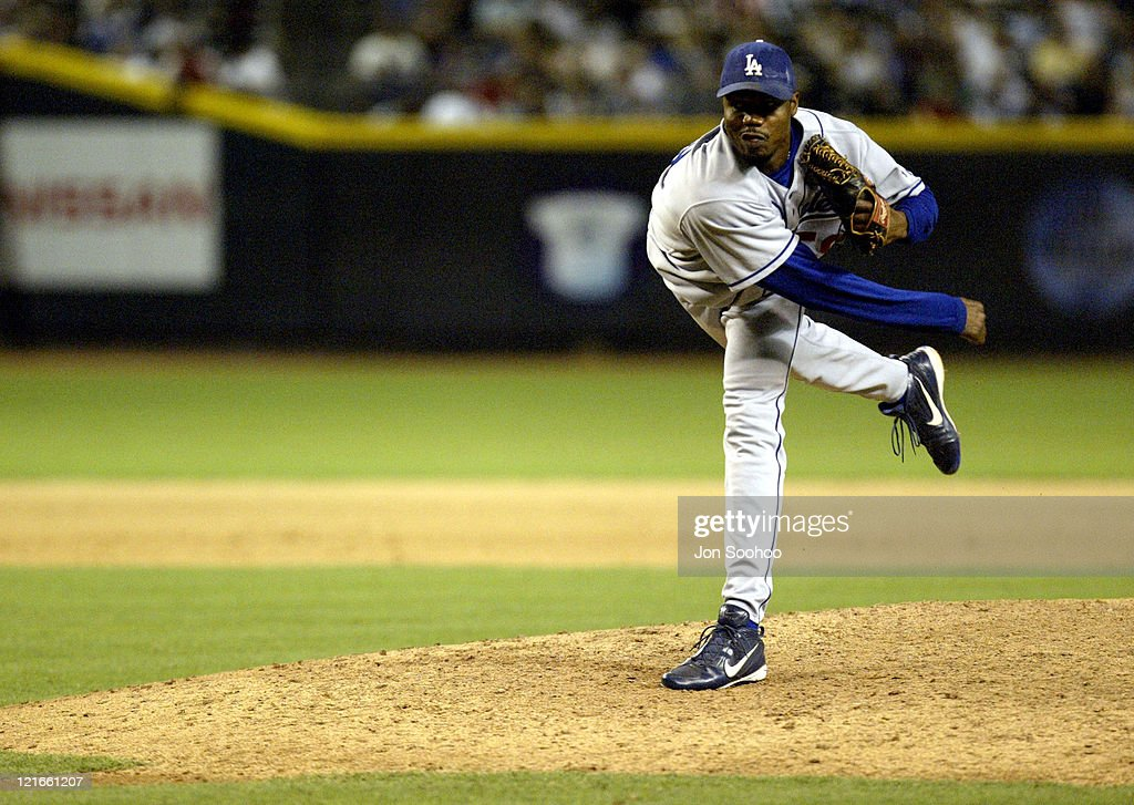 Dodger relief pitcher <a gi-track='captionPersonalityLinkClicked' href=/galleries/search?phrase=Guillermo+Mota&family=editorial&specificpeople=208080 ng-click='$event.stopPropagation()'>Guillermo Mota</a> during Los Angeles Dodgers at Arizona Diamondbacks - July 25, 2003 at Bank One Ballpark in Phoenix, Arizona, United States.