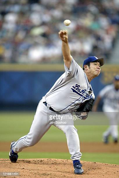 Dodger starter Hideo Nomo during LA Dogers v The Atlanta Braves August 1st 2003 at Atlanta Braves Stadium in Atlanta GA United States