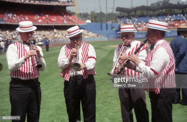 Dodgers band preforms pre game at Dodger Stadium circa 1999 in Los Angeles California