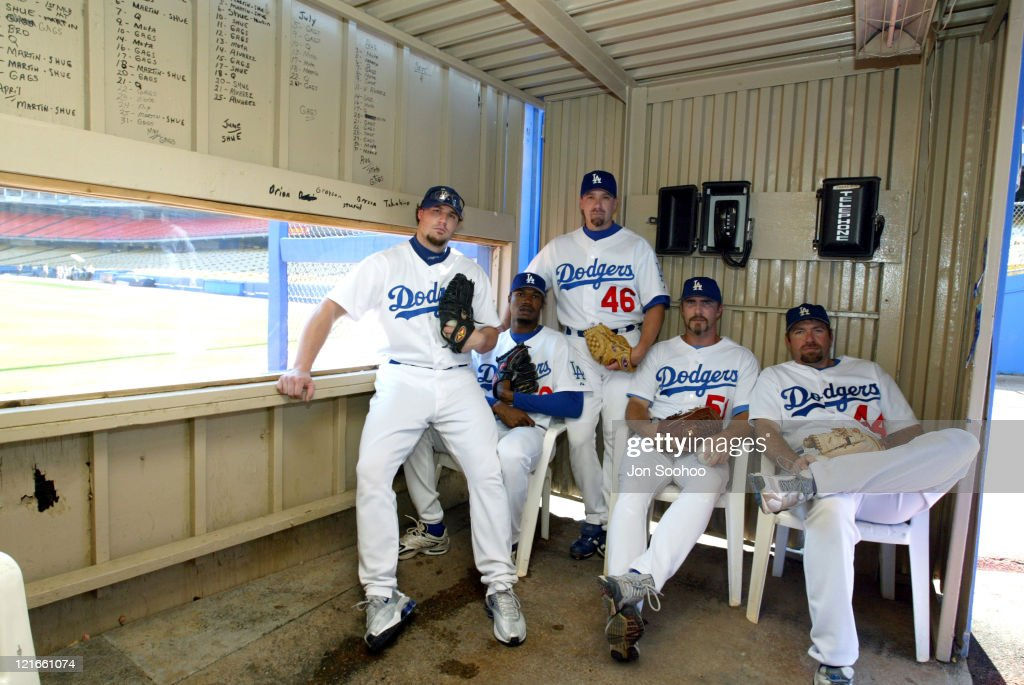 Dodgers bullpen staff, <a gi-track='captionPersonalityLinkClicked' href=/galleries/search?phrase=Eric+Gagne&family=editorial&specificpeople=202503 ng-click='$event.stopPropagation()'>Eric Gagne</a>, <a gi-track='captionPersonalityLinkClicked' href=/galleries/search?phrase=Guillermo+Mota&family=editorial&specificpeople=208080 ng-click='$event.stopPropagation()'>Guillermo Mota</a>, <a gi-track='captionPersonalityLinkClicked' href=/galleries/search?phrase=Paul+Quantrill&family=editorial&specificpeople=228062 ng-click='$event.stopPropagation()'>Paul Quantrill</a>, <a gi-track='captionPersonalityLinkClicked' href=/galleries/search?phrase=Tom+Martin&family=editorial&specificpeople=220974 ng-click='$event.stopPropagation()'>Tom Martin</a> and Paul Shuey.