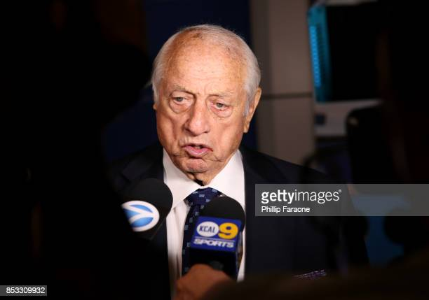 Dodgers Legend Tommy Lasorda a his at his 90th Birthday Celebration at The Getty Center on September 24 2017 in Los Angeles California