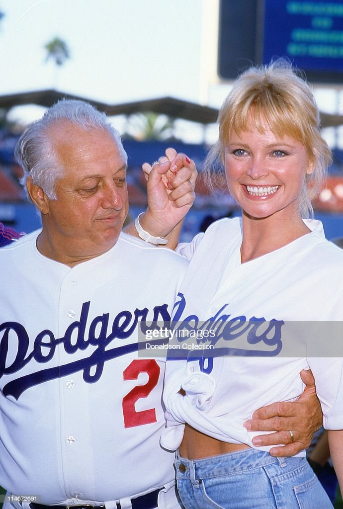 Dodgers Manager Tommy Lasorda and actress Pat Klous pose for a portrait in October 1987 at Dodger Stadium in Los Angeles California